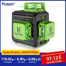 Huepar 3D Niveau Laser Ligne Croisée Auto-Nivellement 12 Ligne Verte Batterie Lithium-ion Avec Port de Charge Type-C et Etui de Transport