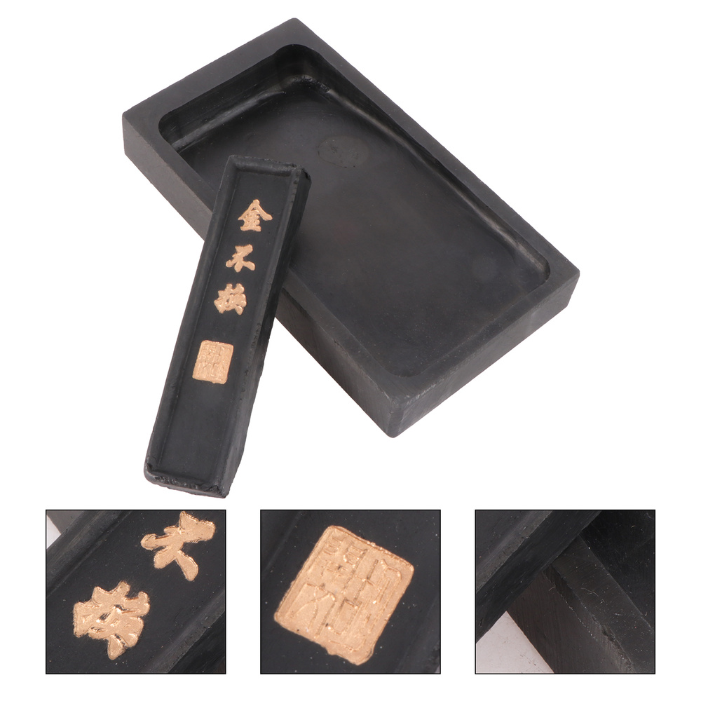 2Pcs 5 Inch Premium Durable Inkstone Chinese Taditional Ink Stones Rectangle with Ink Stick for Chinese Calligraphy and Painting