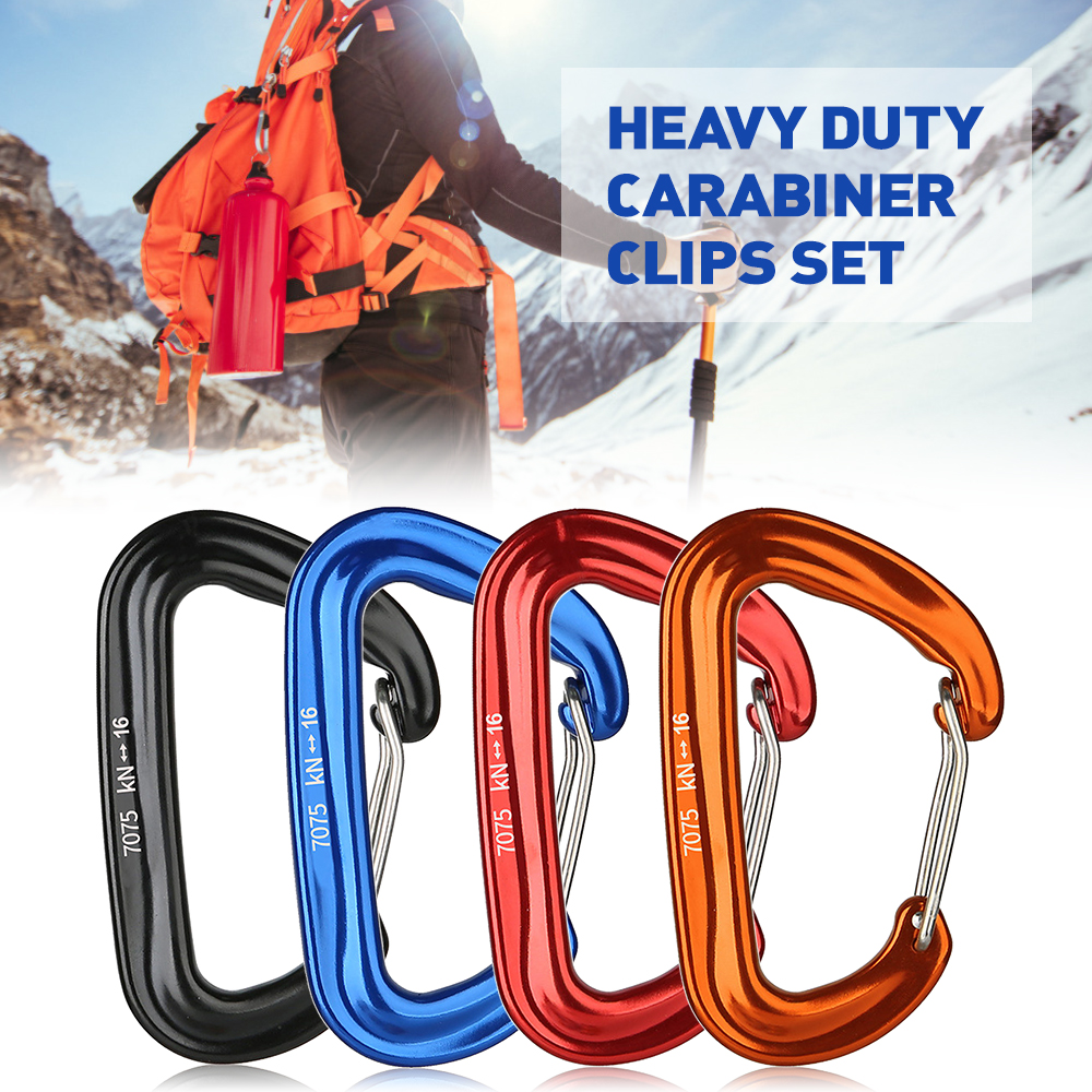 4 PCS Aluminum Alloy Carabiner Clips 16KN/3527lbs Heavy Duty Outdoor Camping Climbing Snap Clip Lock Buckle Hook Fishing Tool