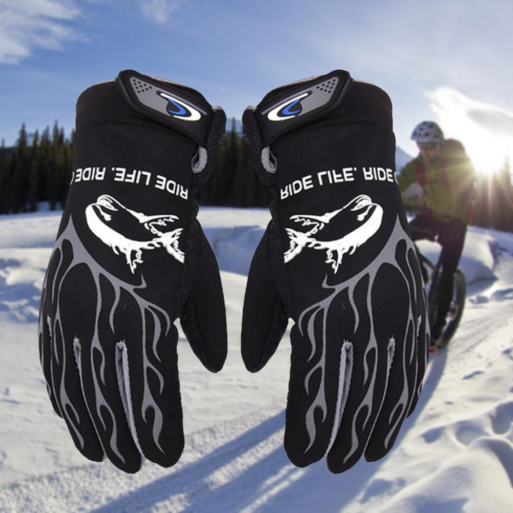 Motorcycle Winter Gloves Windproof Cold-resistant Non-Slip Waterproof Thickening Velvet Outdoor Sports Hiking Snow Skiing Gloves