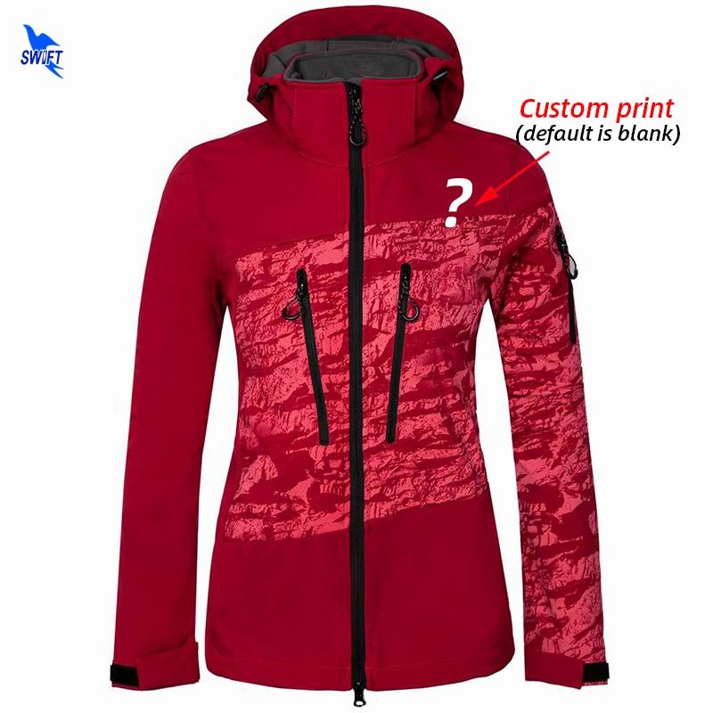 Custom Print Outdoor Sport Softshell Jacket Women Thermal Fleece Camping Climbing Hooded Coat Trekking Waterproof Hiking Jackets