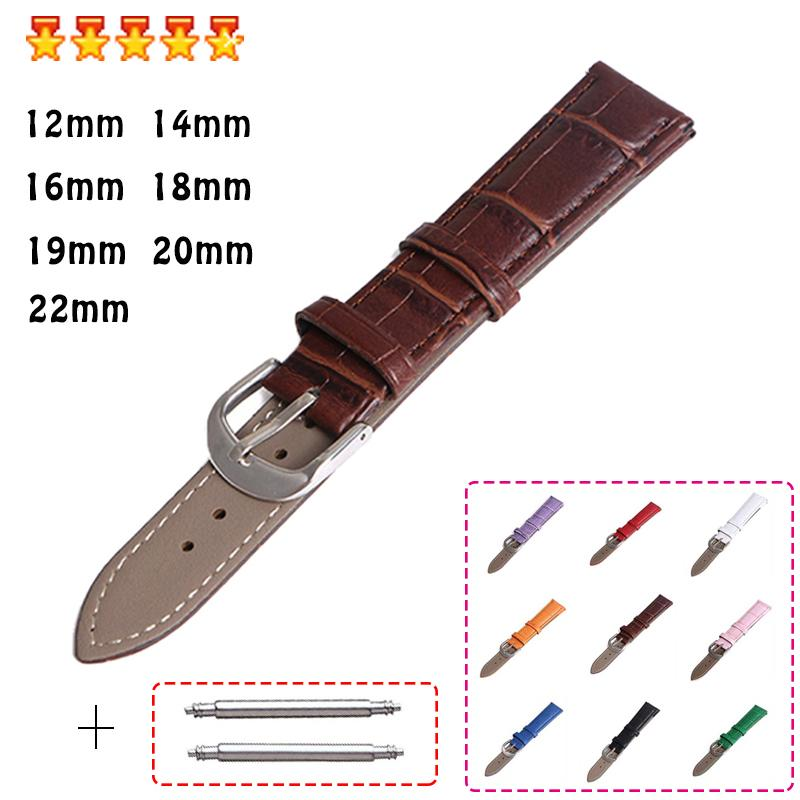 New Straps Genuine Leather Watch Bands 12mm 18mm 20mm 14mm 16mm 19mm 22mm Watch Accessories For Women Men Unisex Wristband Belt
