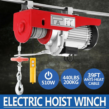 100 / 200kg Electric Hoist Automatic 220V Crane Winch Lifting 450W Remote Control