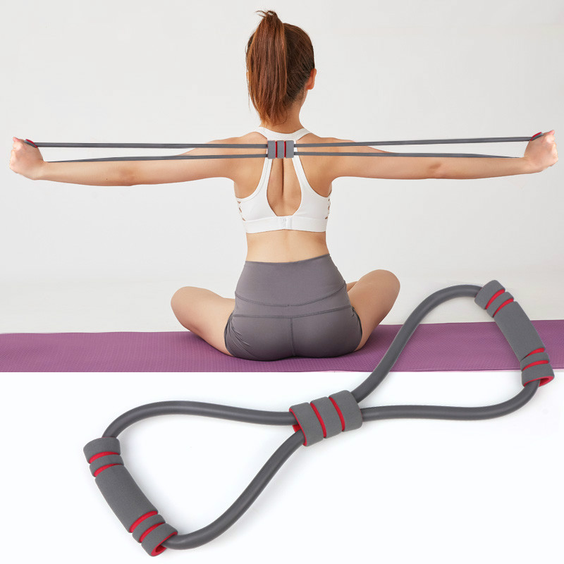 8 Word Chest Expander Hot Yoga Gum Fitness Resistance Rope Workout Muscle Fitness Rubber Elastic Bands for Sports Exercise