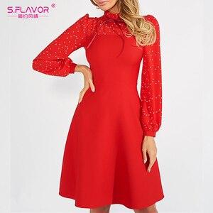 Image 5 - S.FLAVOR Hot Sale Vintage Patchwork A line Dresses Women Autumn Winter Long Sleeve Turtleneck Casual Dress Female Pencil Dress