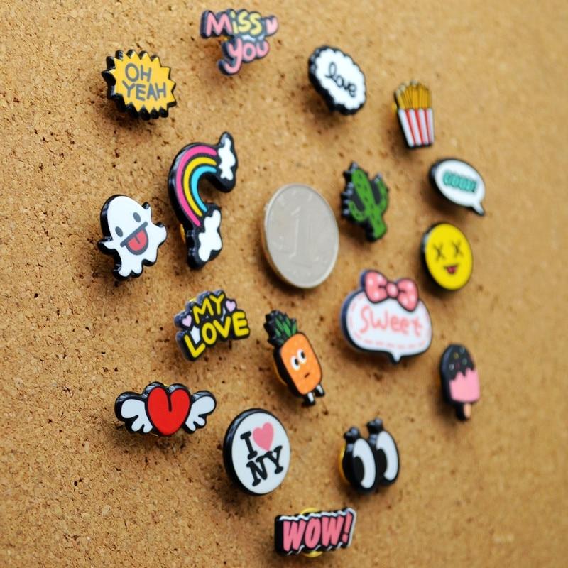 17 pcs colorido thumbtack polegar tachas bonito dos desenhos animados parede empurrar pinos para a placa