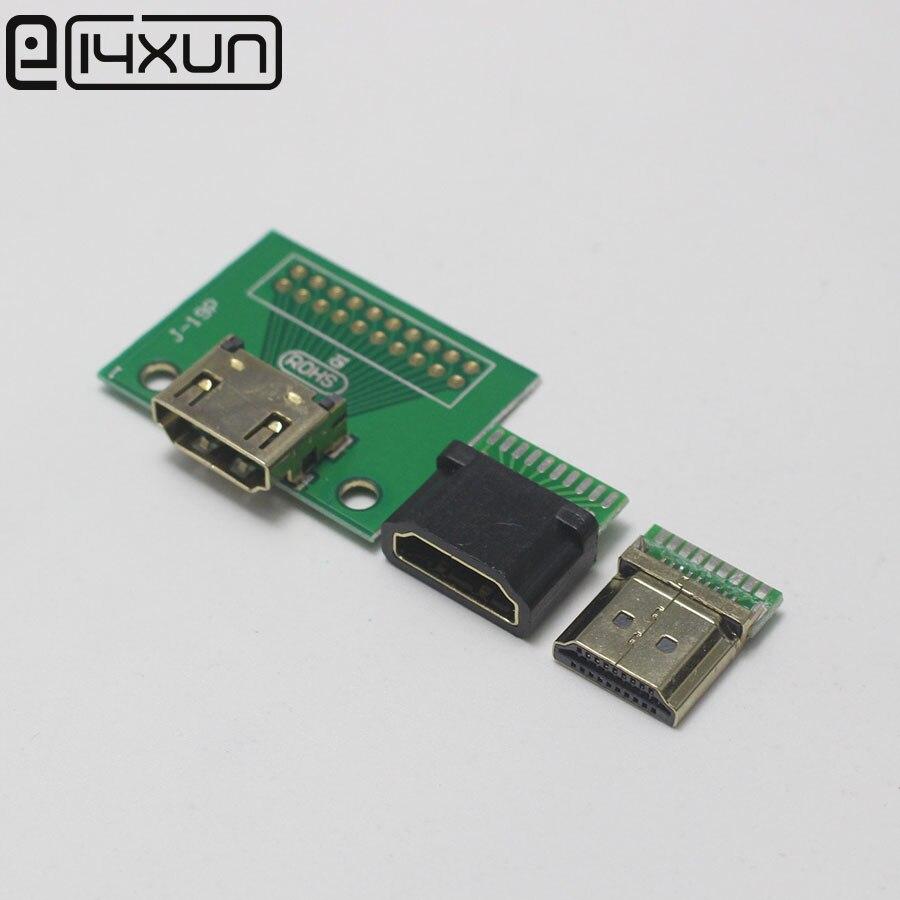 1 шт., 19-контактный Штекерный разъем HDMI с золотым покрытием