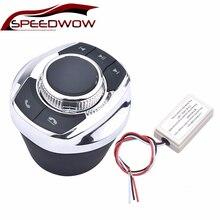 SPEEDWOW evrensel fincan şekli ile LED ışık 8 Key araba kablosuz direksiyon kontrol düğmesi araba Android navigasyon oyuncu
