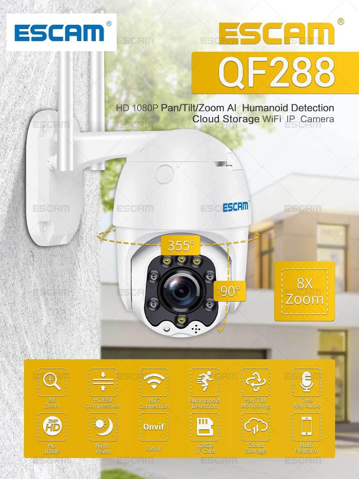 ESCAM QF288 1080P Pan/Tilt/8X Zoom AI Humanoiden erkennung Wolke Lagerung Wasserdicht WiFi IP Kamera mit zwei Weg Audio