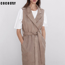 Belt Coat Gilet Long-Vest Women Outwear Pockets Female Solid Bow-Tie Notched-Collar Suede