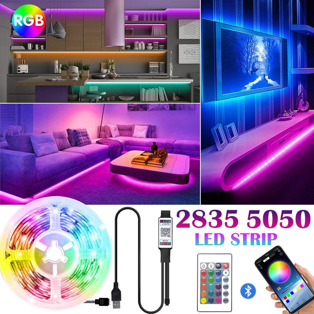 Bluetooth RGB 5050 2835 Светодиодный полоски светильник инфракрасный контроллер Гибкая лента для художественного оформления задняя светильник ночн...
