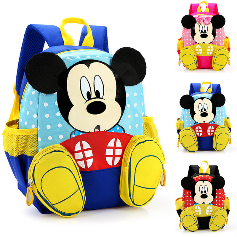 Disney Mickey mouse Minnie Kids primary school student Boys and Girls Backpack bag for school outdoor backpack   birthday gift