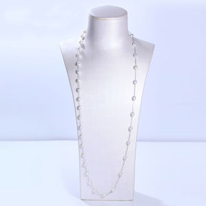 Image 3 - DMCNFP007 7 8mm Long Pearl Necklace 925 Sterling Silver Sweater Chain Necklace For Women