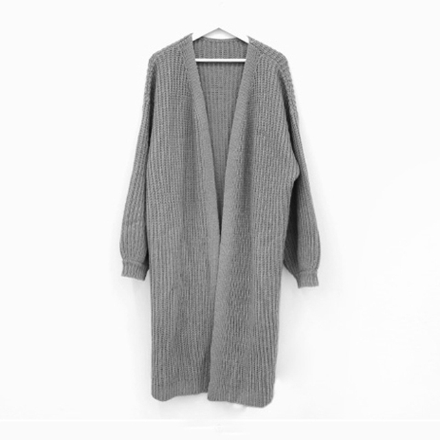 Sungtin Casual Long Knitted Cardigan Women Vintage Black Loose Sweater Coat Solid Oversized Jumper Outwear Autumn Winter 3 Color 4
