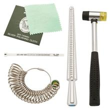 Jewelry Measuring Tool Sets with Ring Mandrel and Sizers Model Finger Measure, Rubber Hammers Silver Polishing Cloth
