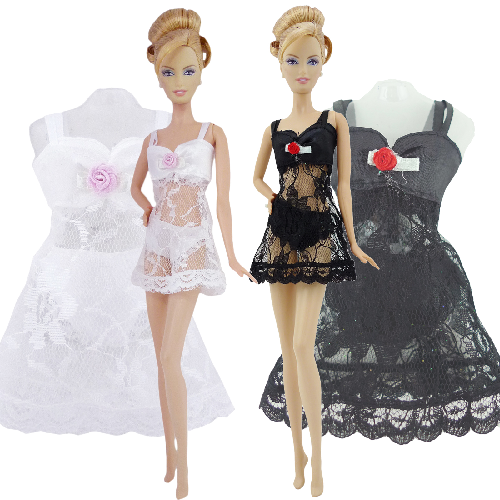 2 Set/Lot Handmade Doll Outfit For Barbie Doll Sexy Pajamas Underwear Black White Lace Doll Clothes Accessories Kids DIY Toy