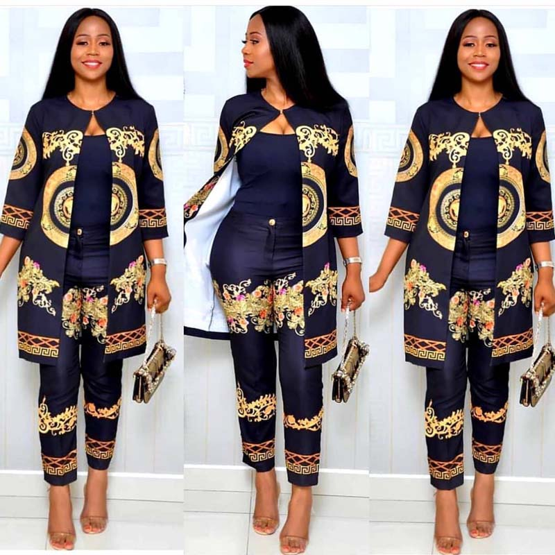 African Clothes Women's Atmosphere Fashion Digital Print Sleeves Coat + Trousers Suit African Temperament Female Tops Pant Suits