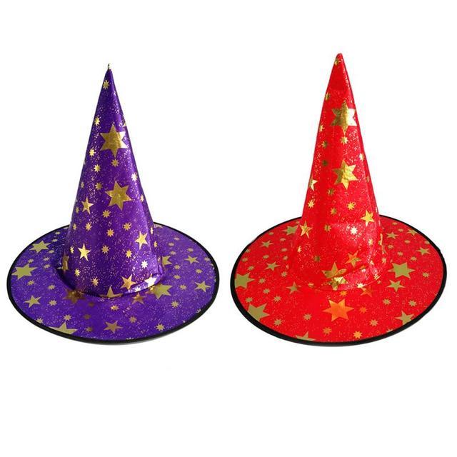 Noir Orange 1pc monocouche maille sorcière Halloween Rose rouge Rose fête blanc rouge cinq étoiles habiller assistant chapeau bleu violet