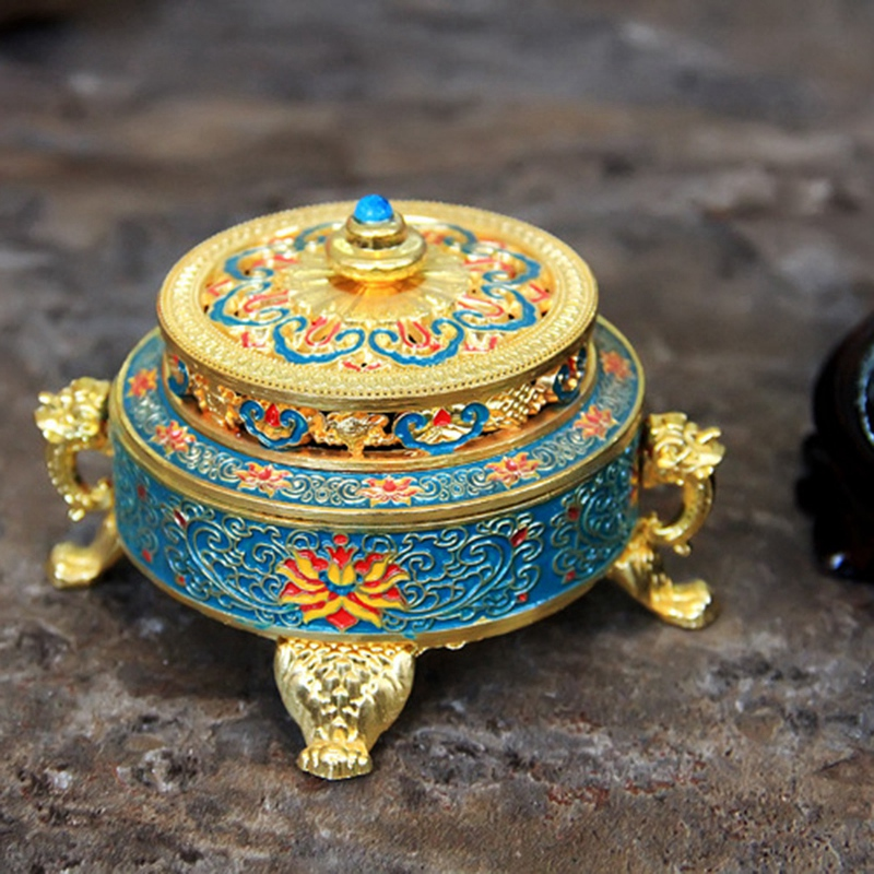 SZS Hot Incense Burner Holder Tibetan Style Painted Enamel Alloy Coil Incense Crafts Home Office Decoration Gift