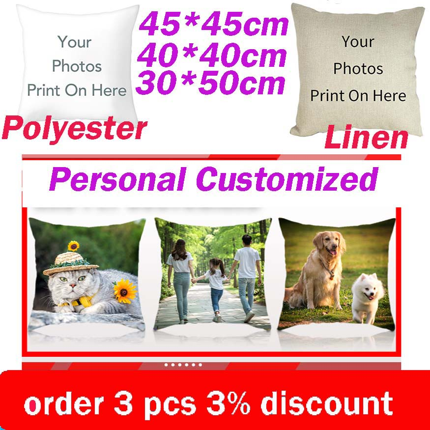 Fuwatacchi Linen Double Sided Cushion Cover Optional Customized Print Pillow Covers Gift Beige Throw Pillowcase Personal Photos