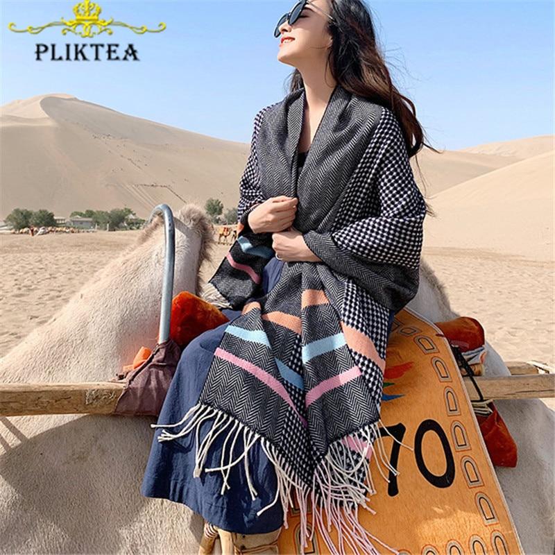 Buy   Elegant Black Plaid Female Poncho Pashmina Khaki Winter Women's Warm Stole Plaid Ladies Scarves Wra