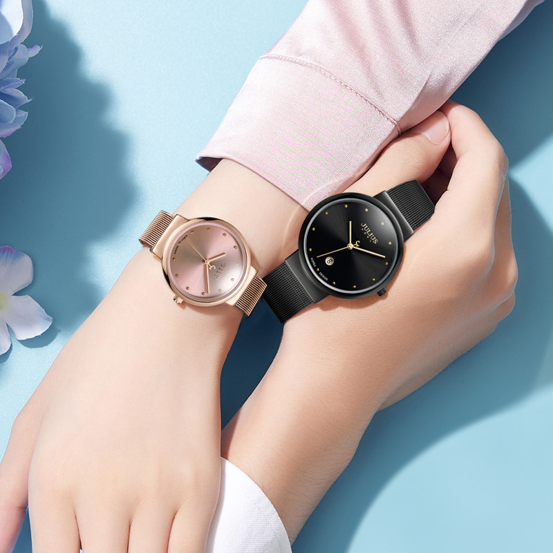 Ultrathin Women Fashion Casual Watch Rose Gold Mesh Steel Quartz Watch Ladies Simple Silver Watches Teen Girl Clock Luxury Gift