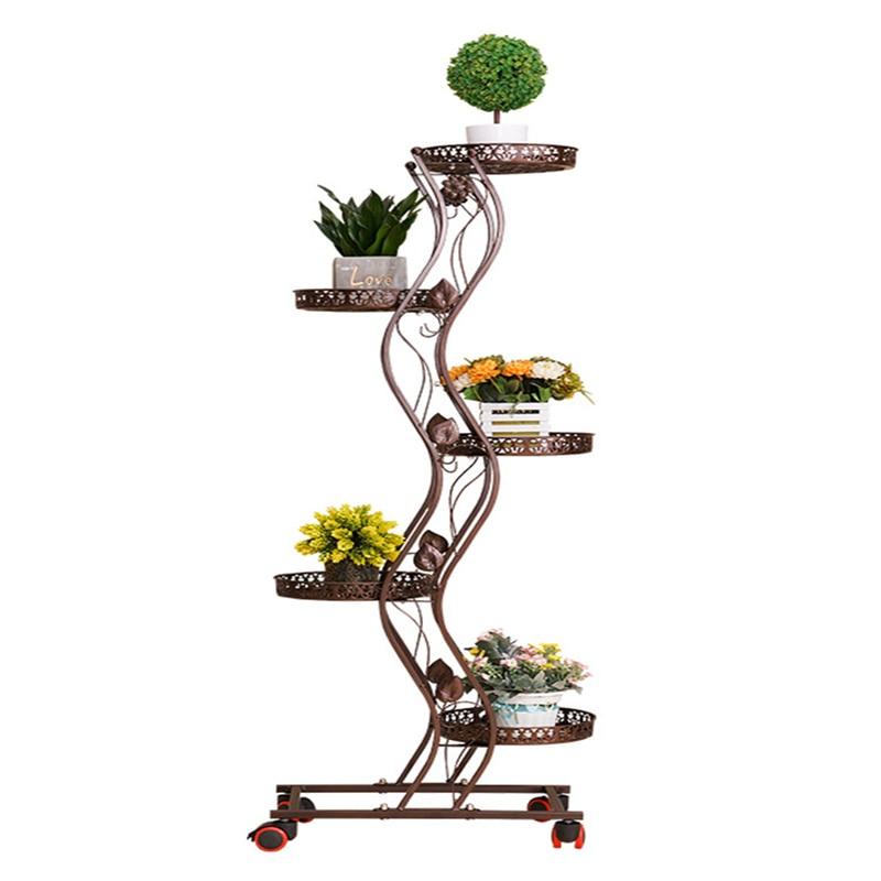 Flower Shelf Rack Wrought Iron Multi-layer Mobile Pulley Flower Stand Balcony Living Room Floor Green Flower Pot Shelf