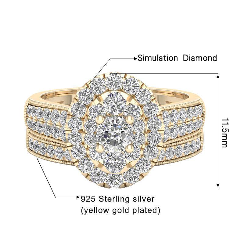 Szjinao 14k צהוב זהב חן טבעות זוגי 925 כסף 2 טבעת יהלומי כלה יוקרה תכשיטי אישה יום נישואים