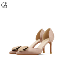 Купить с кэшбэком GOXEOU/2019 Autumn New women's shoes nude Pointed Toe Pumps Silk Thin Heels high heel shoes