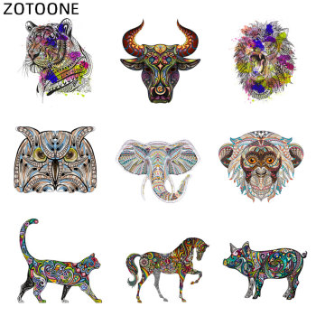 ZOTOONE Colorful Animal Patch Tiger Owl Iron on Stickers for Clothing DIY Heat Transfers Appliques Washable Bull Pig Patches D image