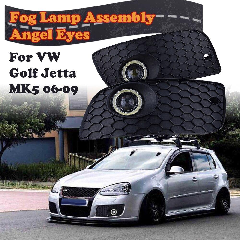 Передний бампер Нижняя решетка гало Противотуманные фары в сборе ангельские глазки лампа для VW Golf Jetta MK5 2006-2009, автомобильные аксессуары