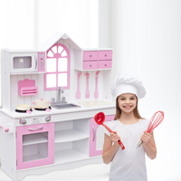 Kids Wood Kitchen Toy Cooking Pretend Play Set Toddler Wooden Playset with Kitchenware Pink