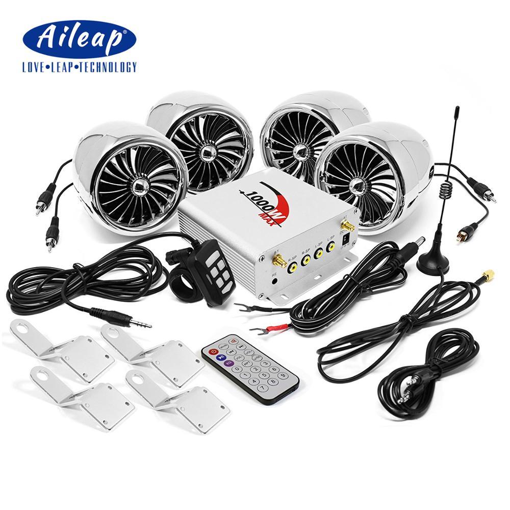 Aileap 1000W Amplifier Bluetooth Motorcycle Stereo 4 Speakers MP3 Audio FM Radio System For HARLEY/SUZUKI/HONDA/ATV/UTV (Chrome)