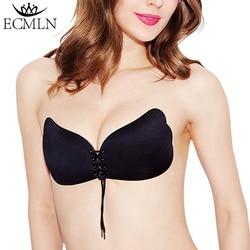Mulher auto-adesivo strapless bandagem blackless sólido sutiã vara gel silicone empurrar para cima roupa interior feminina sutiã invisível