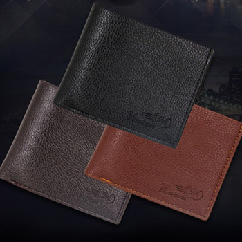 Men's wallet short large capacity casual fashion simple thin men's wallet short flannel wallet image