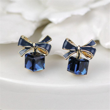 2021 Fashion Gold Bowknot Cube Crystal Earring Square Bow Earrings Cute Sweet For Women Pretty Valentine's Day Gift Jewelry image