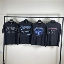 High Street Vintage Kurzarm t Männer Frauen 90er Jahre Rockband Wash machen alte AY Brief T-Shirt Blitzdruck Porträt Muster Top