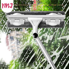 Double-sided Cleaning Window Tools Cleaner Long Handle Glass Wiper Telescopic Rod Silicone Rotating Head with Cleaning Cloth