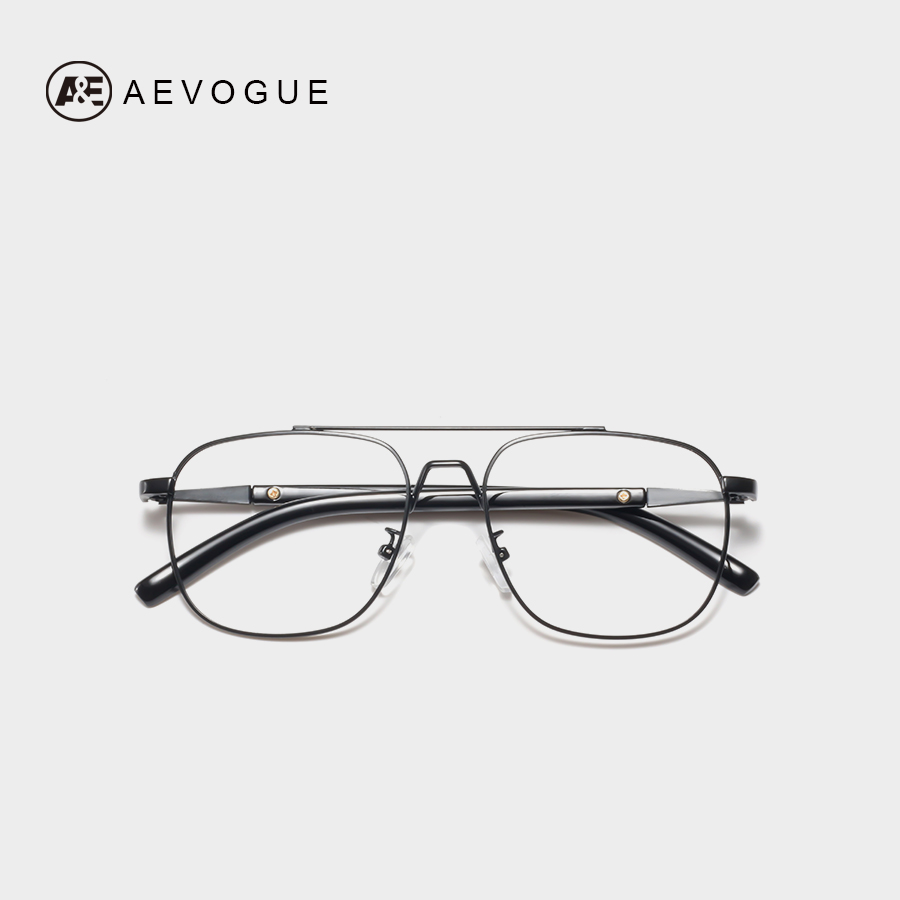 AEVOGUE Eyewear Men Double-Bridge Square Metal Transparent Myopia Frame Prescription Glasses Unisex AE0740