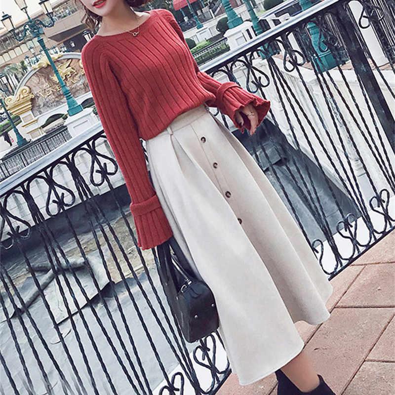 Nữ Thời Trang Mới Thu Hai Bộ Dệt Kim Trên Và Váy Nữ Áo Phù Hợp Với Mùa Đông Ngọt Ngào Dưới Trang Phục LWL593