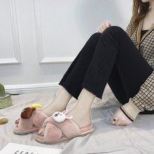 Liren 2019 Women Fur Slippers Summer Shoes Big Size Home Slipper Plush Indoor Warm Fluffy  Cotton Shoe Animal Pattern Cute