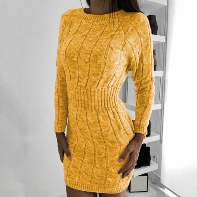 Твист вязаный свитер платье для женщин пуловеры осень длинный рукав Элегантная туника Мини Bodycon зимнее платье халат Pull