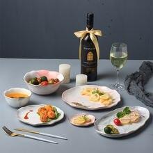 Элегантная нестандартная керамическая тарелка с золотым ободком