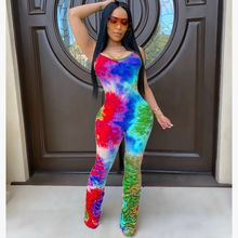 HAOYUAN Sexy Tie Dye Bodycon Rompers Women Jumpsuit One Peice Club Outfits Ruche