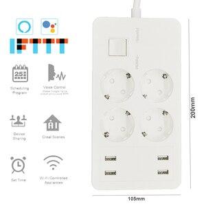 Image 2 - Wifi смарт Мощность полосы Стабилизатор напряжения удлинитель 4 розетки ЕС розетки с USB Зарядное устройство адаптер работает с Alexa Google Home