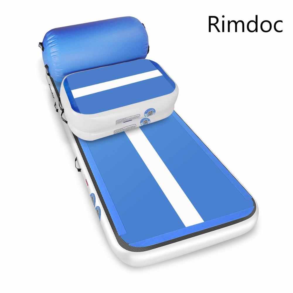 Rimdoc 4M gymnastique Airtrack tapis de Yoga culbutant piste d'air gonflable gymnastique rouleau Fitness tapis de sol pour gymnase/entraînement/plage