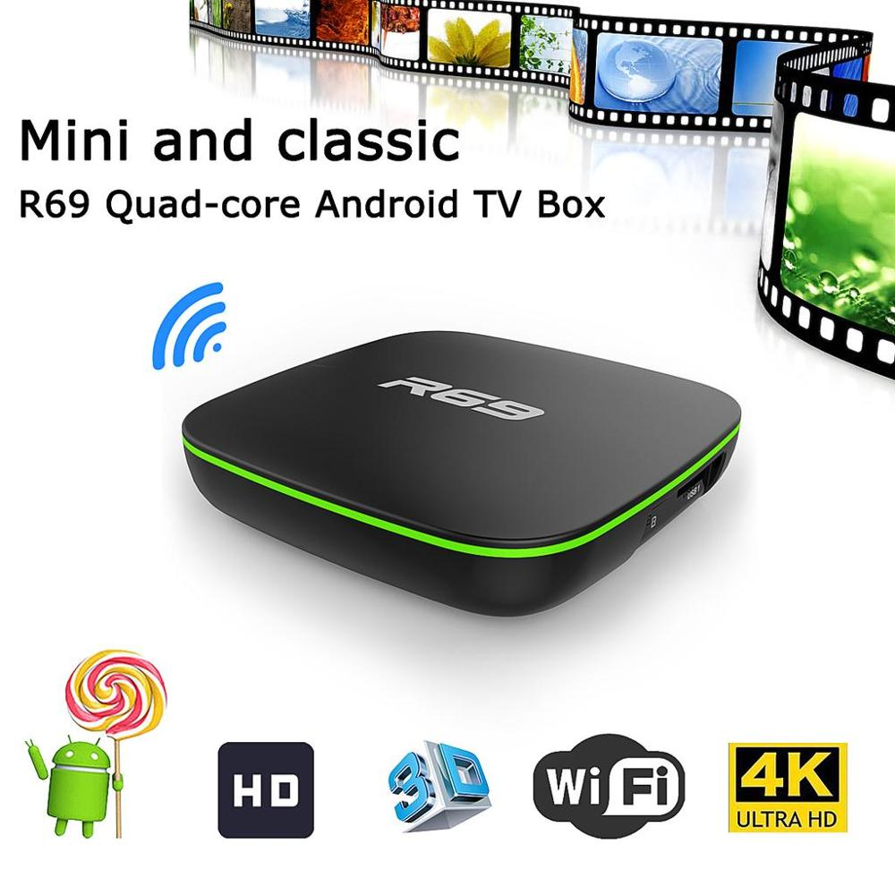R69 Smart TV Box Android 7.1 Set Top Box 1G8G/2G16G Allwinner H3 Quad-Core 2.4GHz WiFi 1080P HD Home Online Movies Media Player