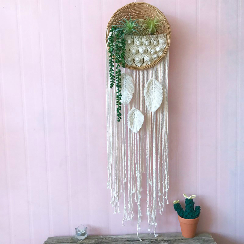 Ins Room Background Wall Macrame Tapestry Woven Basket Flower Pot Rattan Tapestry Wall Hanging Hang Decoration Boho Decor