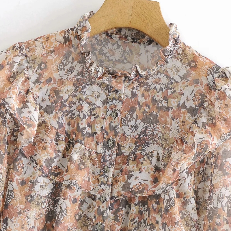 Women Cascading Ruffle Floral Printing Chiffon Shirts Vintage Female Long Sleeve Blouses Casual Lady Loose Tops Blusas S8295 3