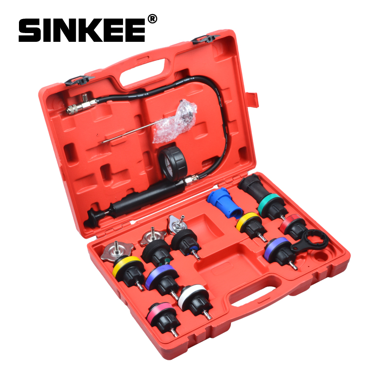 17pcs Auto Cooling System Radiator Cap Pressure Tester Kit Pump Gauge Adapters